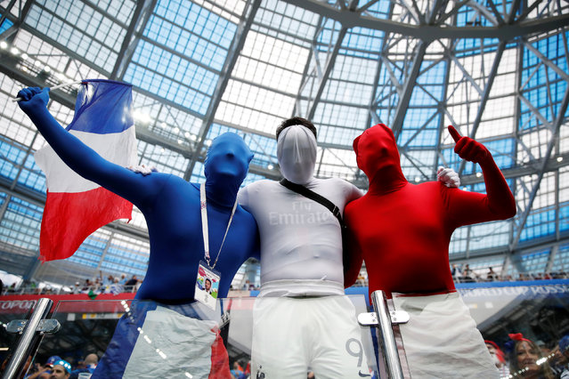 France fans inside the stadium before the match between Uruguay and France at the Nizhny Novgorod Stadium in Nizhny Novgorod on July 6, 2018. (Photo by Damir Sagolj/Reuters)