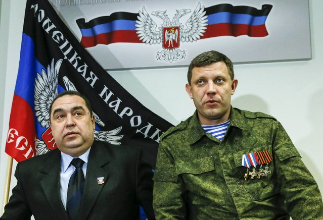Alexander Zakharchenko (R), leader of the self-proclaimed Donetsk People's Republic (DPR), and Igor Plotnitsky, leader of the self-proclaimed Luhansk People's Republic (LPR), attend a news conference in Donetsk February 2, 2015. (Photo by Maxim Shemetov/Reuters)