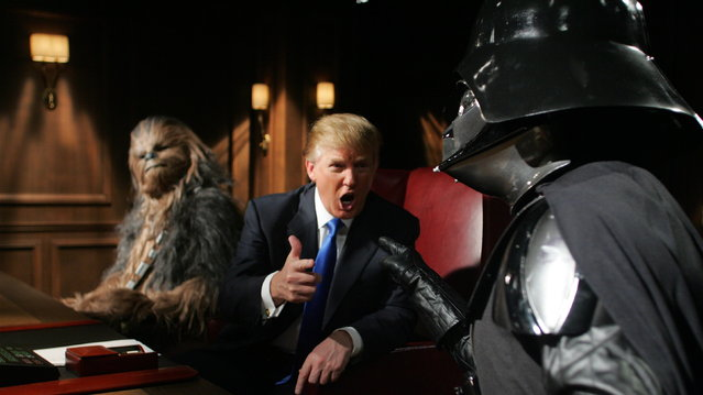 "Donald Trump, Darth Vader and Chewbacca on the set of NBC's ""The Apprentice"". (Photo by NBC/AP Photo)"