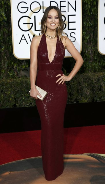 Actress Olivia Wilde arrives at the 73rd Golden Globe Awards in Beverly Hills, California January 10, 2016. (Photo by Mario Anzuoni/Reuters)