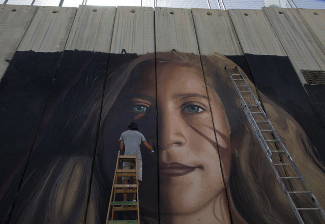 In this Wednesday, July 25, 2018 file photo, An Artist paints a giant mural of prominent Palestinian activist Ahed Tamimi on part of the Israeli separation wall in the West Bank city of Bethlehem. When Israel locked up Ahed Tamimi for slapping a soldier last year, it hoped to finally silence the teenage Palestinian activist. Instead, it created an international celebrity. (Photo by Nasser Nasser/AP Photo)
