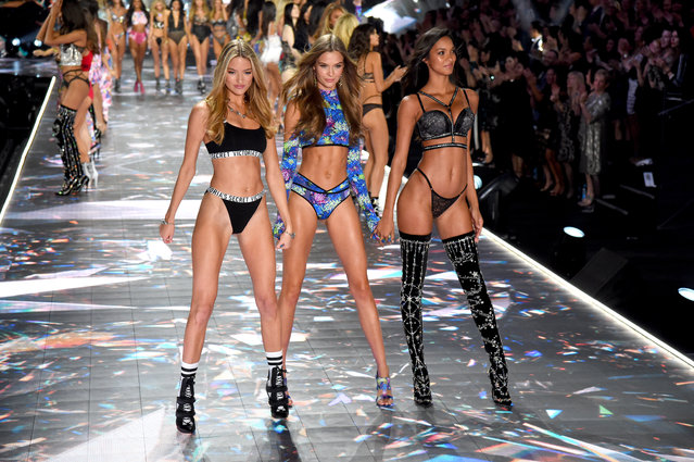 (L-R) Martha Hunt, Josephine Skriver and Lais Ribeiro walk the runway during the 2018 Victoria's Secret Fashion Show at Pier 94 on November 8, 2018 in New York City. (Photo by Kevin Mazur/WireImage)