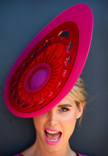 Iskra Galic poses for a photo as she enters the Fashion in the Field competition at the Melbourne Cup in Melbourne on November 5, 2013. (Photo by William West/AFP Photo)