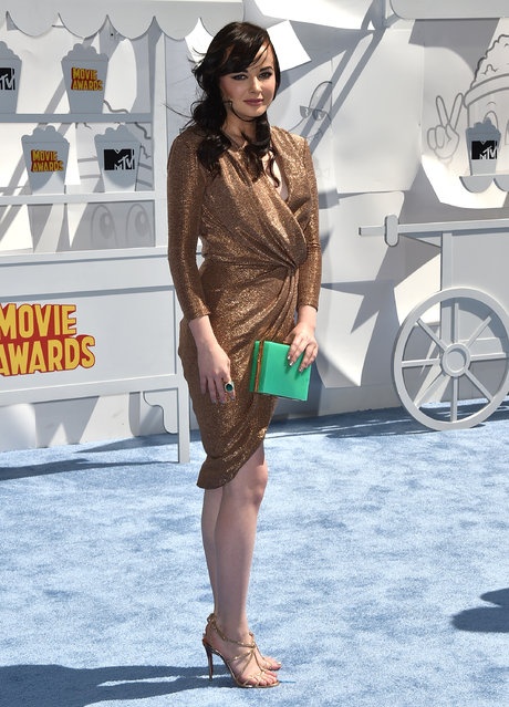 Ashley Rickards arrives at the MTV Movie Awards at the Nokia Theatre on Sunday, April 12, 2015, in Los Angeles. (Photo by Jordan Strauss/Invision/AP Photo)