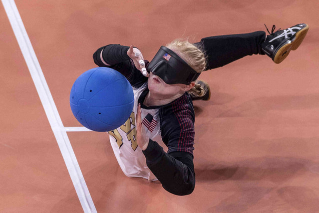 Marybai Huking of the U.S. blocks the ball during the Women's Goalball Gold Medal Match against Turkey at the Tokyo 2020 Paralympic Games in Tokyo Friday, September 3, 2021. (Photo by Simon Bruty for OIS via AP Photo)