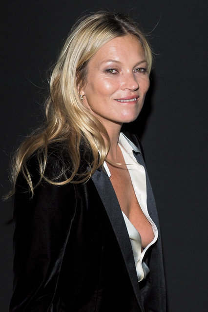 Kate Moss, 45, attends the Saint Laurent show, during Paris Fashion Week Womenswear Fall/Winter 2019/2020, on February 26, 2019 in Paris, France. (Photo by Splash News and Pictures)