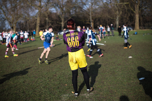 The snitch runner looks on during the Crumpet Cup quidditch tournament on Clapham Common on February 18, 2017 in London, England. (Photo by Jack Taylor/Getty Images)