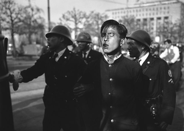 A dazed Japanese youth, his face bruised and bleeding, is led from the riot scene by a policemen after pro-communist demonstrators were dispersed near the imperial palace grounds in Tokyo on May 1, 1952. (Photo by AP Photo via The Atlantic)