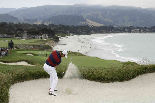 Gary Woodland hits out of the bunker on the ninth hole during the first round of the U.S. Open Championship golf tournament Thursday, June 13, 2019, in Pebble Beach, Calif. (Photo by Marcio Jose Sanchez/AP Photo)
