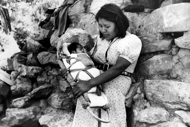 A young Havasupai mother carries her child in a cradle made of basket, in Supai or Havasu Canyon, August 12, 1941. The remote American Indian reservation is located in one of the tributary gorges of the Grand Canyon. (Photo by AP Photo)