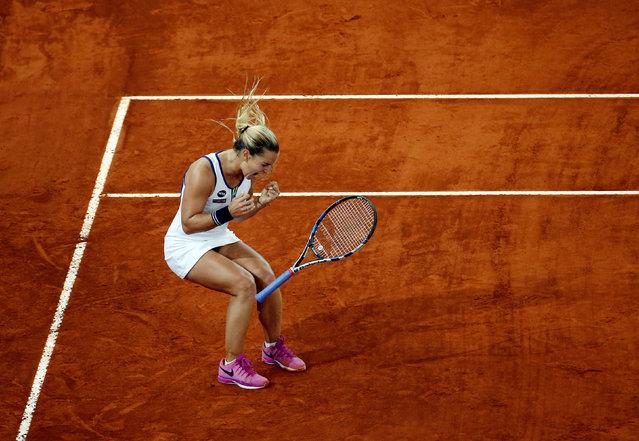 Tennis, Madrid Open, Dominika Cibulkova of Slovakia vs Louisa Chirico of the United States, Madrid, Spain on May 6, 2016: Cibulkova celebrates victory. (Photo by Susana Vera/Reuters)