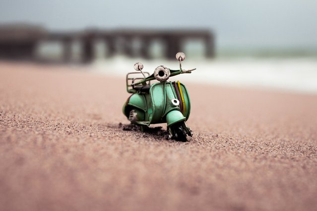 """Standing On A Shore 2.0"", Turquoise Vespa, Albufeira, Portugal, November 2012. (Photo by Kim Leuenberger)"