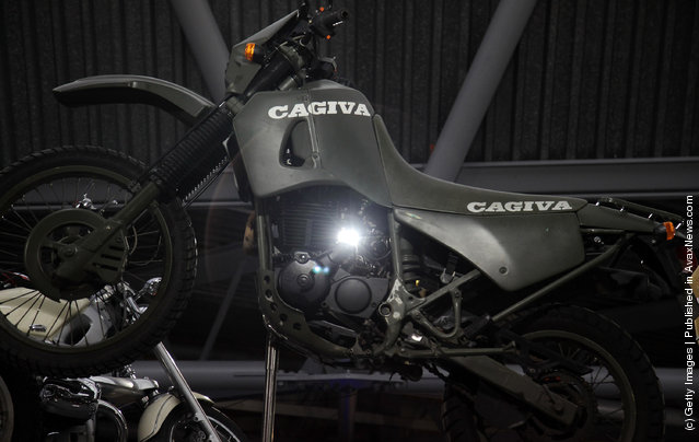 A Cagiva 600 W16 that was used in the 1995 James Bond film Goldeneye and is currently being displayed at the Bond In Motion exhibition