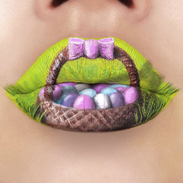 This makeup artist is blowing minds with her stunning lip art. The incredible designs are 3D and include seashells, seashores, fruit, chocolate, pizza and even animals. The artist, Tutushka from Nikolaev, Ukraine, has been a professional makeup artist for 15 years and started her journey into makeup art by winning a lipstick-art contest. Tutushka has amassed thousands of likes on her pictures and has almost hit 50,000 followers by sharing her creative designs. Here: Tutushka's lipstick art work on her lips showing a basket full of easter eggs. (Photo by Tutushka Matviienko/Caters News Agency)
