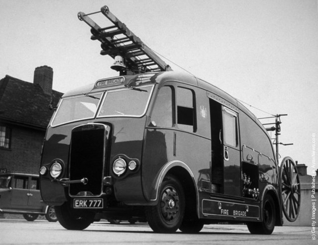 1940: The latest streamlined fire engine, supplied to Croydon Fire Brigade