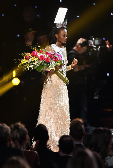 Miss District of Columbia USA 2016 Deshauna Barber reacts as she is crowned Miss USA 2016 during the 2016 Miss USA pageant at T-Mobile Arena on June 5, 2016 in Las Vegas, Nevada. (Photo by Ethan Miller/Getty Images)