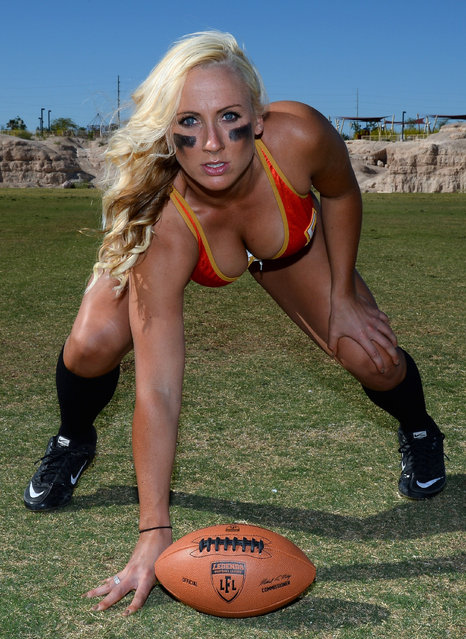 Linebacker/tight end Danika Brace #8 poses during media day for the Las Vegas Sin of the Legends Football League at Charlie Frias Park on May 13, 2014 in Las Vegas, Nevada. (Photo by Ethan Miller/Getty Images)
