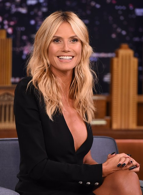 """Heidi Klum visits """"The Tonight Show Starring Jimmy Fallon"""" at Rockefeller Center on August 19, 2015 in New York City. (Photo by Theo Wargo/NBC/Getty Images for """"The Tonight Show Starring Jimmy Fallon"""")"""