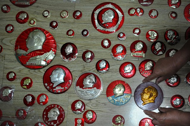 A resident arranges his collection of badges of China's late Chairman Mao Zedong as he presents them in Hefei, Anhui Province, China, June 30, 2016. (Photo by Reuters/China Daily)