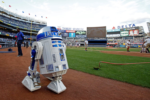 "R2-D2 rolls onto Yankee Stadium field during ""Star Wars"" night prior to the Seattle Mariners taking on the New York Yankees in Bronx, NY, USA on August 25, 2017. (Photo by Adam Hunger/USA TODAY Sports)"
