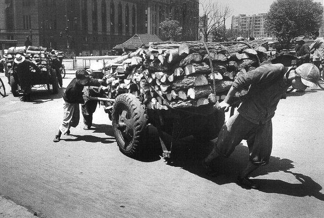 1948年4月。帮父亲推运柴木的十岁男孩。 (April 1948. The pushing of firewood-year-old boy helped his father)