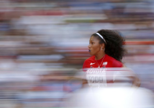 Jasmine Todd of the U.S. competes in the women's long jump qualifying round during the 15th IAAF World Championships at the National Stadium in Beijing, China, August 27, 2015. (Photo by Phil Noble/Reuters)
