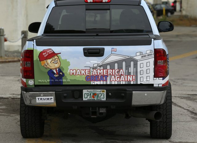 A truck painted in support of Republican presidential candidate Donald Trump is parked near the Republican National Convention in Cleveland, Ohio, U.S. July 18, 2016. (Photo by Lucas Jackson/Reuters)