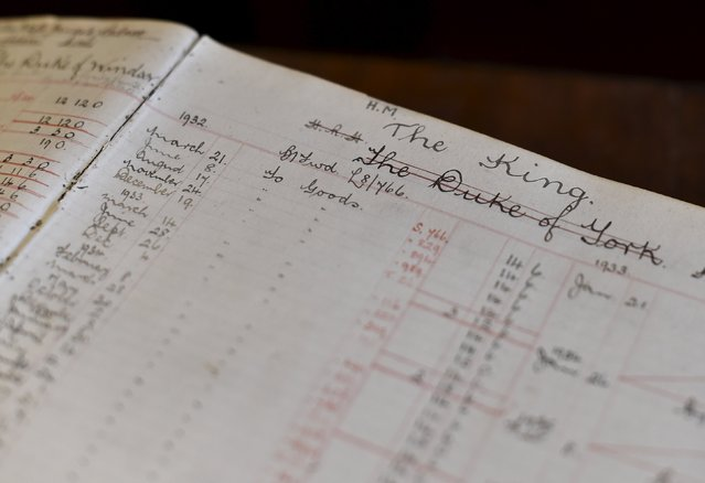 A sales ledger for the British royal family, from the 1930s is seen at perfumer Floris, in central London, Britain, August 19, 2015. Floris, established in 1730, holds a warrant as perfumer to Queen Elizabeth. (Photo by Toby Melville/Reuters)