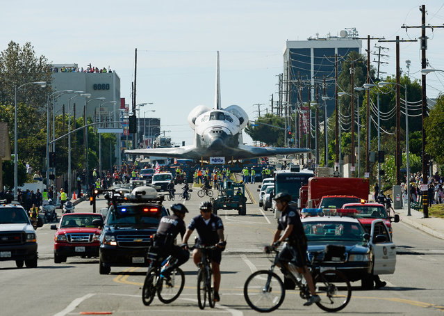 The space shuttle Endeavour is transported to the California Science Center in Exposition Park from Los Angeles International Airport (LAX)  in Los Angeles, California. (Photo by Kevork Djansezian)
