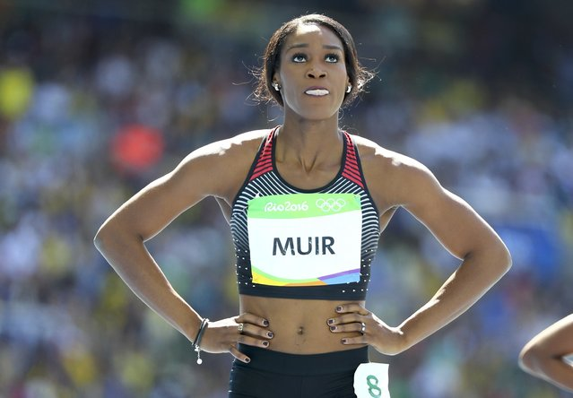 2016 Rio Olympics, Athletics, Preliminary, Women's 400m Round 1, Olympic Stadium, Rio de Janeiro, Brazil on August 13, 2016. Carline Muir (CAN) of Canada reacts. (Photo by Lucy Nicholson/Reuters)