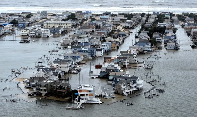 A portion of Harvey Cedars on Long Beach Island, N.J. is underwater Tuesday. (Photo by Clem Murray/The Philadelphia Inquirer, Clem Murray)