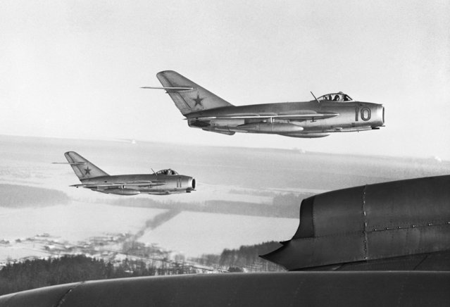 In late 1950, the formidable Soviet MiG-15 fighter jets (pictured here in a 1963 file photo) appeared in the skies above North Korea. Many of the jets were flown by ace Soviet pilots who reportedly dressed in Chinese uniforms. The Kremlin consistently denied that Soviet pilots were involved in aerial combat above Korea, even as U.S. pilots heard them swearing in Russian over the radio during dogfights. (Photo by Valentin Sobolev/TASS)
