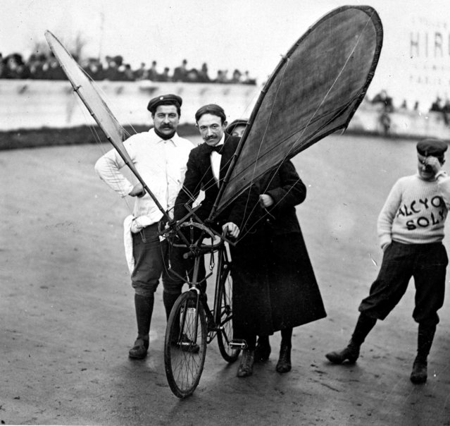 Handout photo issued by Easyart of an experimental flying bicycle as an archive of weird and wacky innovations has been unearthed by an amateur historian as he trawled through a collection of images spanning the last 100 years. Website for posters and art prints, Easyart.com, has begun to sell a selection of the images from Mr Hodge's Stilltime Collection. (Photo by Easyart/PA Wire)