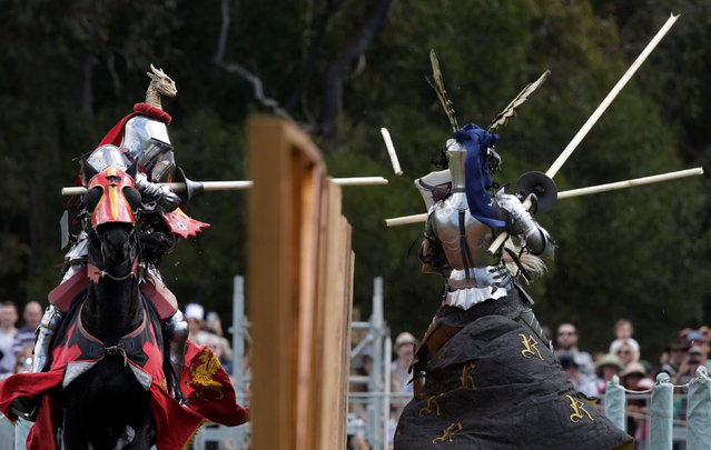 Philip Leitch of Australia (L) makes contact with Arne Koets of the Netherlands during a jousting tournament at the St Ives Medieval Fair in Sydney, one of the largest of its kind in Australia, September 24, 2016. (Photo by Jason Reed/Reuters)
