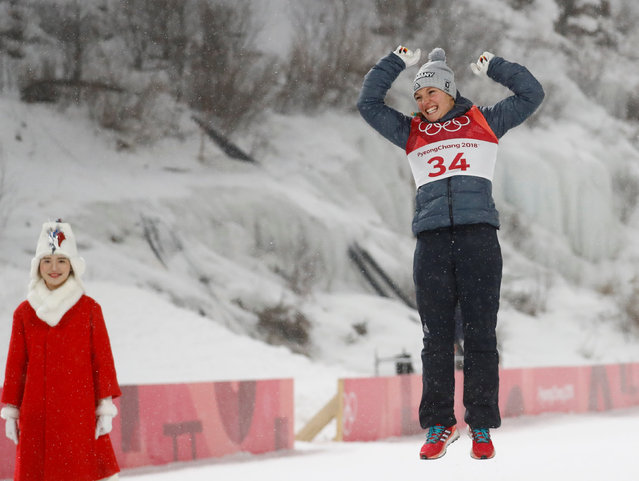 Germany' s Katharina Althaus celebrates winning the silver medal at the women' s ski jumping event at Alpensia Ski Jump Centre during the Olympic Winter Games in Pyeongchang, South Korea, 12 February 2018. (Photo by Kai Pfaffenbach/Reuters)