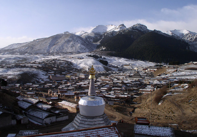 Langmusi, a sacred Buddhist pilgrimage destination in Gansu. (Photo by Tom Carter/The Atlantic)