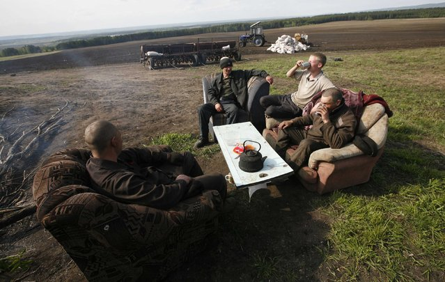 Inmates sit on a sofa and armchairs while having a meal during a work break on an agrarian field of a penal colony settlement, some 40 km (25 miles) northeast of Russia's Siberian city of Krasnoyarsk, June 6, 2013. Some 250 inmates, who were given life sentences and committed to forced labour works in security prison camps, operate on regional penitentiary system agrarian fields and at farms, according to the regional penitentiary system official representatives. Every hour inmates are obliged to sign a document during working hours as part of a regular controlling check, conducted by prison guards. (Photo by Ilya Naymushin/Reuters)