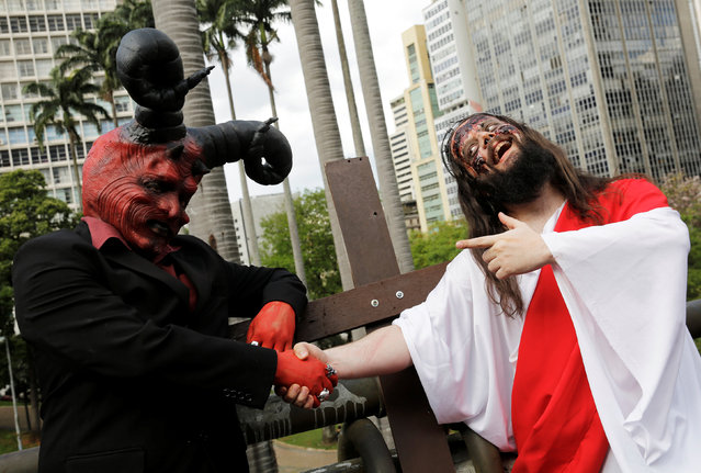 People participate in a Zombie Walk in Sao Paulo, Brazil, November 2, 2016. (Photo by Nacho Doce/Reuters)
