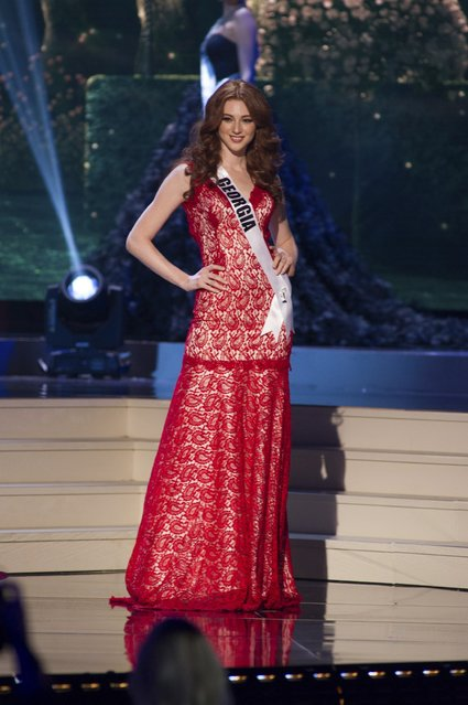 Ana Zubashvili, Miss Georgia 2014 competes on stage in her evening gown during the Miss Universe Preliminary Show in Miami, Florida in this January 21, 2015 handout photo. (Photo by Reuters/Miss Universe Organization)