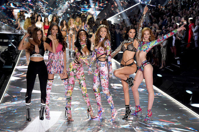 (L-R) Barbara Palvin, Yasmin Wijnaldum, Winnie Harlow, Gigi Hadid, Kendall Jenner, Alexina Graham walk the runway during the 2018 Victoria's Secret Fashion Show at Pier 94 on November 8, 2018 in New York City. (Photo by Kevin Mazur/WireImage)