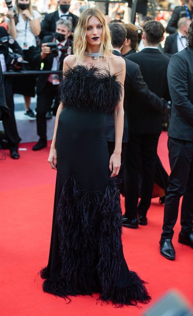 """Polish model Anja Rubik attends the """"De Son Vivient (Peaceful)"""" screening during the 74th annual Cannes Film Festival on July 10, 2021 in Cannes, France. (Photo by Samir Hussein/WireImage)"""