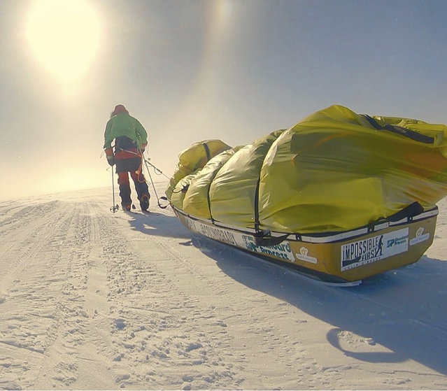 In this photo provided by Colin O'Brady, of Portland., Ore., he poses for a photo while traveling across Antarctica on Wednesday, December 26, 2018. He has become the first person to traverse Antarctica alone without any assistance. O'Brady finished the 932-mile (1,500-kilometer) journey across the continent in 54 days, lugging his supplies on a sled as he skied in bone-chilling temperatures. (Photo by Colin O'Brady via AP Photo)