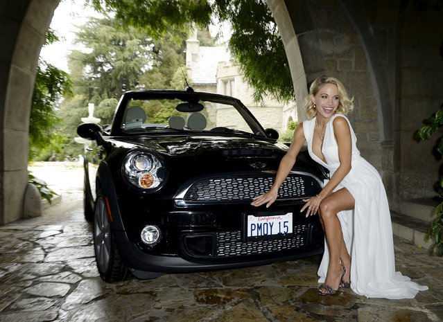 Dani Mathers, 28, the 2015 Playmate of the Year, poses during a luncheon on the garden grounds of the Playboy Mansion in Los Angeles, California May 14, 2015. Mathers, the 56th Playmate of the Year, also received $100,000 in prize money and a one-year lease on a 2015 Mini Cooper S Convertible in Midnight Black. (Photo by Kevork Djansezian/Reuters)
