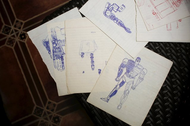 Childhood drawings of robots by product and graphic designer Ricky Ma, 42, are seen in Hong Kong, China March 31, 2016. (Photo by Bobby Yip/Reuters)