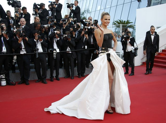 "Model Natasha Poly poses on the red carpet as she arrives for the screening of the film ""Carol"" in competition at the 68th Cannes Film Festival in Cannes, southern France, May 17, 2015. (Photo by Eric Gaillard/Reuters)"