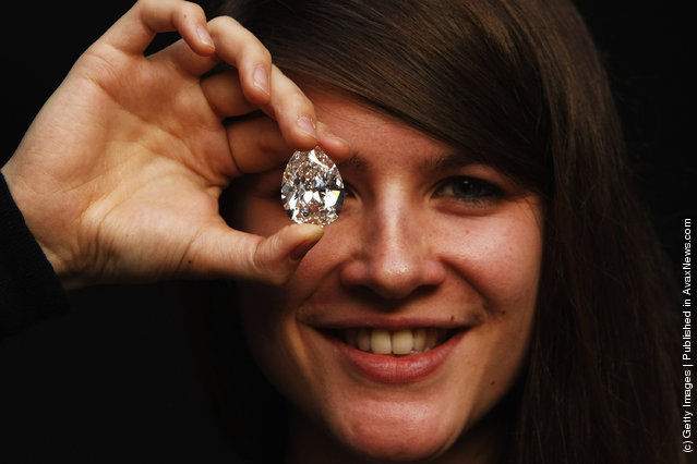 A pear-shaped 72.22-carat diamond