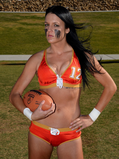 Wide receiver Ashley Brasil #12 poses during media day for the Las Vegas Sin of the Legends Football League at Charlie Frias Park on May 13, 2014 in Las Vegas, Nevada. (Photo by Ethan Miller/Getty Images)