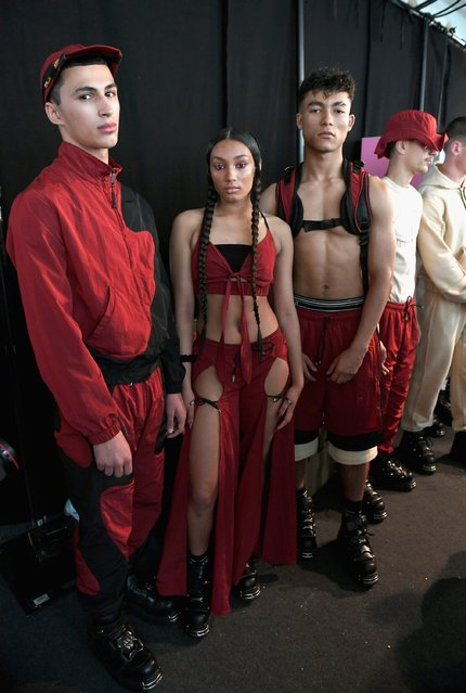 Models are seen backstage ahead of the Nasir Mazhar show during The London Collections Men SS17 at BFC Show Space on June 11, 2016 in London, England. (Photo by Jeff Spicer/Getty Images)