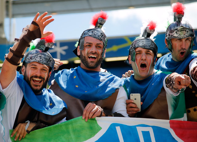 Italy supporters dressed as Roman soldiers cheer on the stands prior to the Euro 2016 Group E soccer match between Italy and Sweden at the Stadium municipal in Toulouse, France, Friday, June 17, 2016. (Photo by Andrew Medichini/AP Photo)