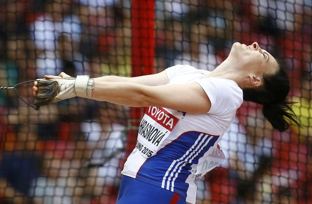 Martina Hrasnova of Slovak Republic competes in the women's hammer throw qualifying round during the 15th IAAF World Championships at the National Stadium in Beijing, China, August 26, 2015. (Photo by Kai Pfaffenbach/Reuters)